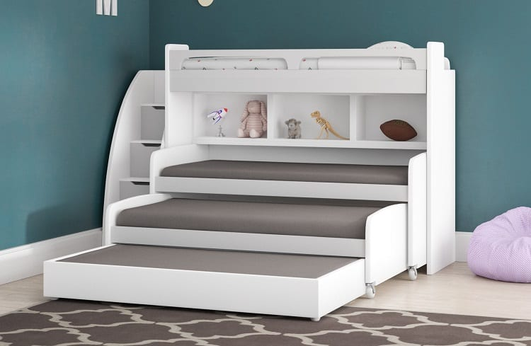 Trundle Bed with Bookcase and Drawers